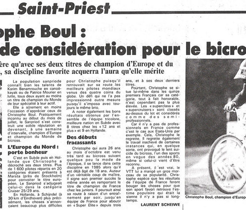 1993 ARTICLE LE PROGRES - CHAMPION DU MONDE ET EUROPE